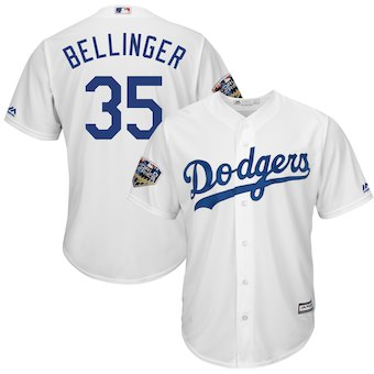 Men's Los Angeles Dodgers #35 Cody Bellinger Majestic White 2018 World Series Cool Base Player Jersey