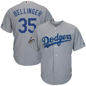 Men's Los Angeles Dodgers #35 Cody Bellinger Majestic Gray 2018 World Series Cool Base Player Jersey