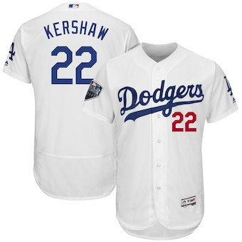 Men's Los Angeles Dodgers #22 Clayton Kershaw Majestic White 2018 World Series Flex Base Player Jersey