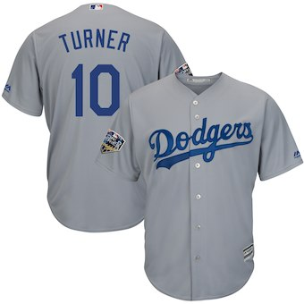 Men's Los Angeles Dodgers #10 Justin Turner Majestic Gray 2018 World Series Cool Base Player Jersey
