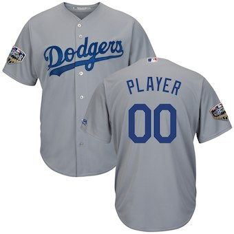 Men's Los Angeles Dodgers Majestic Gray 2018 World Series Cool Base Custom Jersey