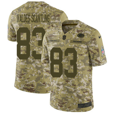 Nike Packers #83 Marquez Valdes-Scantling Camo Men\'s Stitched NFL Limited 2018 Salute To Service Jersey