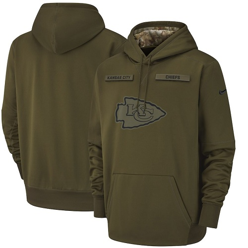 Men's Kansas City Chiefs Nike Olive Salute to Service Sideline Therma Performance Pullover Hoodie
