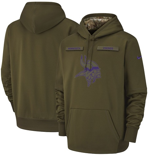 Men's Minnesota Vikings Nike Olive Salute to Service Sideline Therma Performance Pullover Hoodie