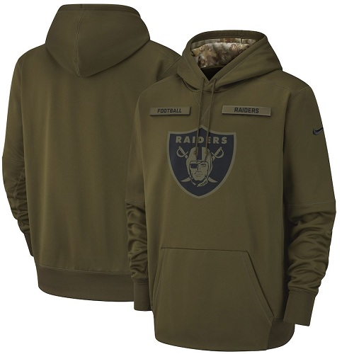 Men's Oakland Raiders Nike Olive Salute to Service Sideline Therma Performance Pullover Hoodie
