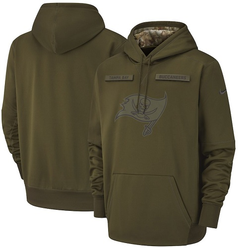 Men's Tampa Bay Buccaneers Nike Olive Salute to Service Sideline Therma Performance Pullover Hoodie