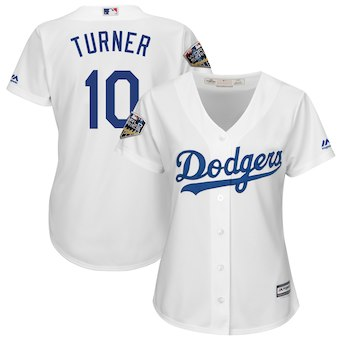 Women's Los Angeles Dodgers 10 Justin Turner Majestic White 2018 World Series Jersey