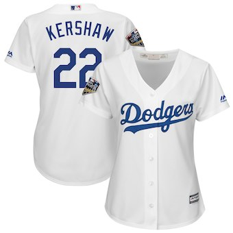 Women's Los Angeles 22 Dodgers Clayton Kershaw Majestic White 2018 World Series Jersey
