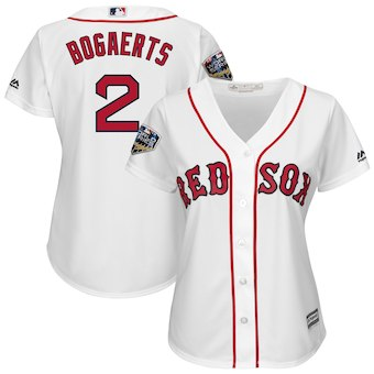 Women's Boston Red Sox 2 Xander Bogaerts Majestic White 2018 World Series Cool Base Player Jersey