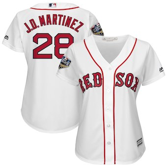Women's Boston Red Sox 28 J.D. Martinez Majestic White 2018 World Series Cool Base Player Jersey