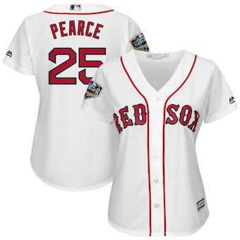 Women's Boston Red Sox 25 Steve Pearce Majestic White 2018 World Series Cool Base Player Jersey