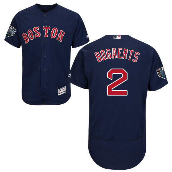 Red Sox #2 Xander Bogaerts Navy Blue Flexbase Authentic Collection 2018 World Series Stitched MLB Jersey