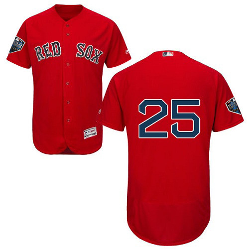 Red Sox #25 Jackie Bradley Jr Red Flexbase Authentic Collection 2018 World Series Stitched MLB Jersey