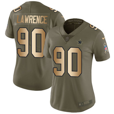Women\'s Nike Dallas Cowboys #90 Demarcus Lawrence Limited Olive Gold 2017 Salute to Service NFL Jersey
