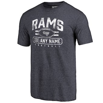 Men's Los Angeles Rams NFL Pro Line by Fanatics Branded Navy Personalized Flanker Tri-Blend T-Shirt