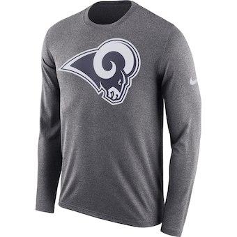 Men's Los Angeles Rams Nike Heathered Charcoal Fan Gear Primary Logo Long Sleeve Performance T-Shirt