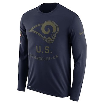 Men's Los Angeles Rams Nike Navy Salute to Service Sideline Legend Performance Long Sleeve T-Shirt