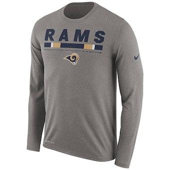 Men's Los Angeles Rams Nike Charcoal Sideline Legend Staff Performance Long Sleeve T-Shirt