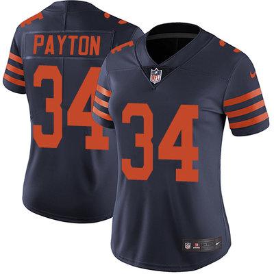 Nike Chicago Bears #34 Walter Payton Navy Blue Alternate Women's Stitched NFL Vapor Untouchable Limited Jersey
