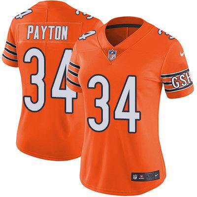 Nike Chicago Bears #34 Walter Payton Orange Women's Stitched NFL Limited Rush Jersey