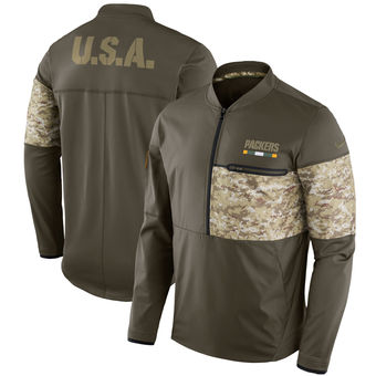 Nike Green Bay Packers Olive Salute to Service Sideline Hybrid Half-Zip Pullover Jacket