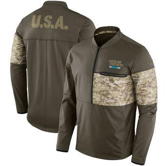 Nike Carolina Panthers Olive Salute to Service Sideline Hybrid Half-Zip Pullover Jacket