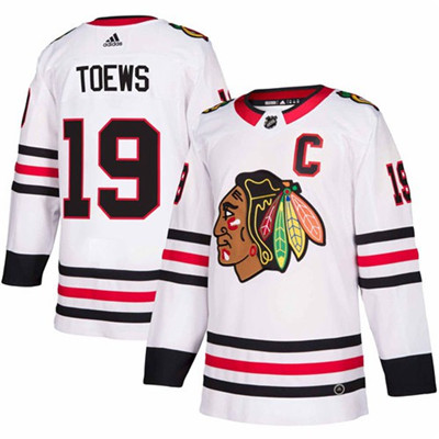 Adidas Blackhawks #19 Jonathan Toews White Road Authentic Stitched NHL Jersey