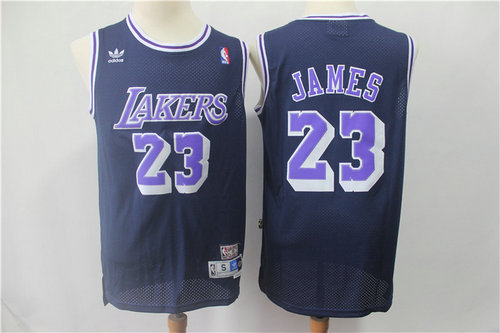 Los Angeles Lakers #23 LeBron James Navy BlueThrowback Stitched NBA Jersey