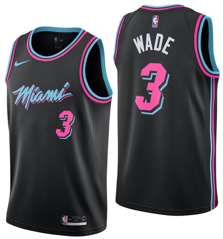 Men s Nike Miami Heat  3 Dwyane Wade 2019 City Edition Swingman Black Jersey 73ed15e6b