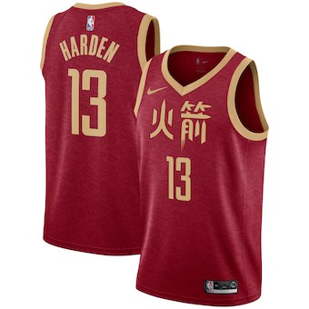 Men's Houston Rockets #13 James Harden Nike Red 2018-19 City Edition Swingman Jersey