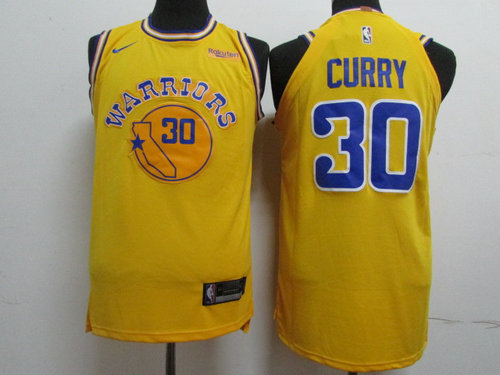 47723675e Nike Golden State Warriors  30 Stephen Curry Yellow Throwback Authentic  Jersey