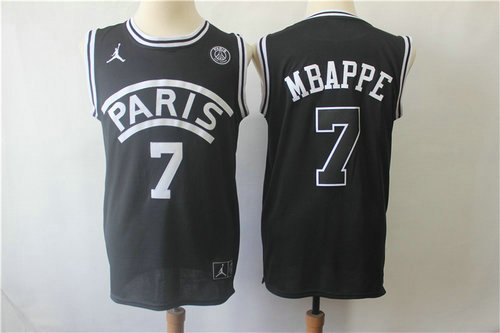 Paris Saint-Germain #7 Mbappe Black Jordan Fashion Jersey