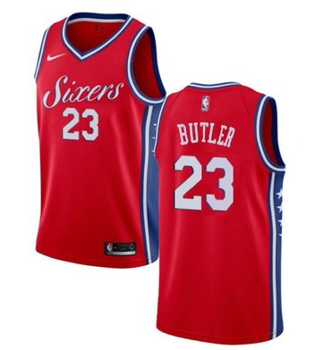 Men's Philadelphia 76ers #23 Jimmy Butler Cream NEW Red Jersey