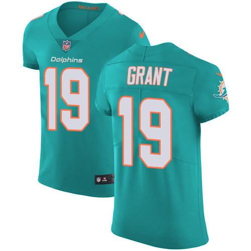 Nike Miami Dolphins #19 Jakeem Grant Aqua Green Team Color Men's Stitched NFL Vapor Untouchable Elite Jersey