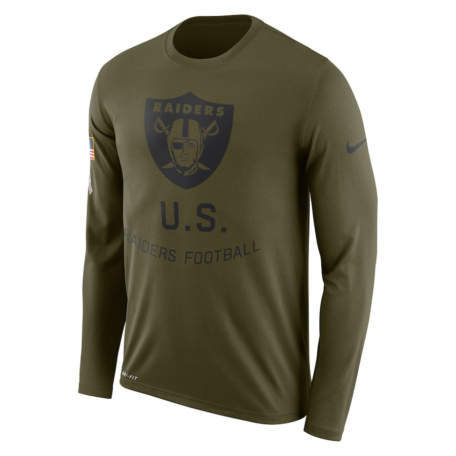 Oakland Raiders Nike Salute To Service Sideline Legend Performance Long Sleeve T-Shirt Olive