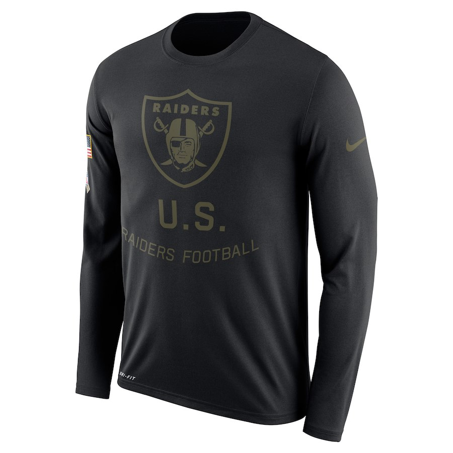 Oakland Raiders Nike Salute To Service Sideline Legend Performance Long Sleeve T-Shirt Black