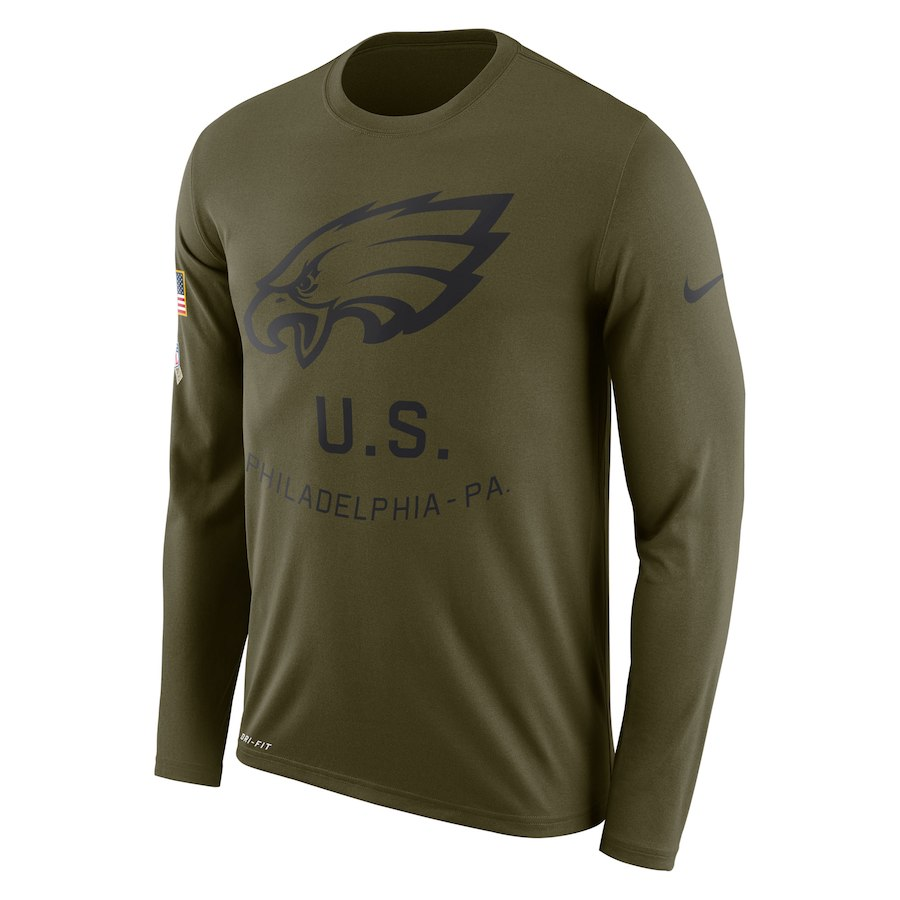 Philadelphia Eagles Nike Salute To Service Sideline Legend Performance Long Sleeve T-Shirt Olive