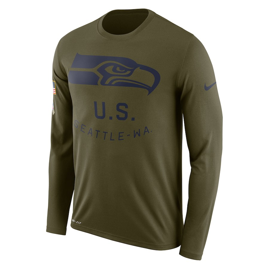 Seattle Seahawks Nike Salute To Service Sideline Legend Performance Long Sleeve T-Shirt Olive