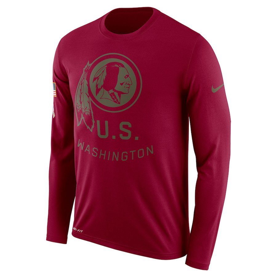 Washington Redskins Nike Salute To Service Sideline Legend Performance Long Sleeve T-Shirt Burgundy