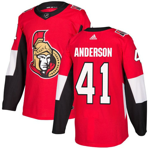 Youth Adidas Senators 41 Craig Anderson Red Home Authentic Stitched NHL Jersey