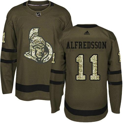 Youth Adidas Senators 11 Daniel Alfredsson Green Salute to Service Stitched NHL Jersey
