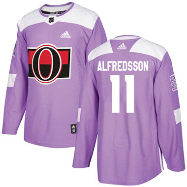 Kid Adidas Senators 11 Daniel Alfredsson Purple Authentic Fights Cancer Stitched NHL Jersey