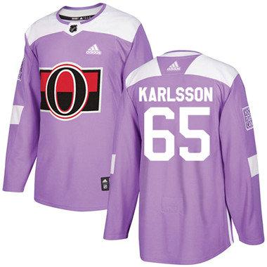Kid Adidas Senators 65 Erik Karlsson Purple Authentic Fights Cancer Stitched NHL Jersey