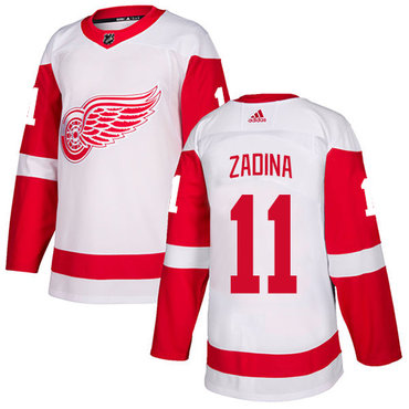 Men's Adidas Detroit Red Wings #11 Filip Zadina White Authentic NHL Jersey