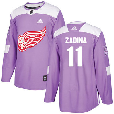 Men's Detroit Red Wings #11 Filip Zadina Authentic Adidas Purple Cancer Practice Jersey