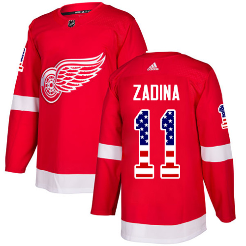 Men's NHL Detroit Red #11 Filip Zadina Authentic Adidas USA Flag Fashion Red Jersey