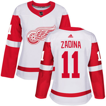 Women's Detroit Red Wings #11 Filip Zadina Authentic White Away Jersey