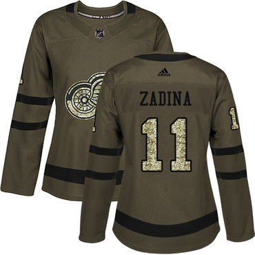 Women's Detroit Red Wings #11 Filip Zadina Authentic Adidas Green Salute To Service Jersey