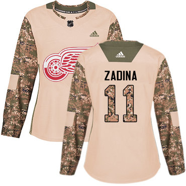Women's Detroit Red Wings #11 Filip Zadina Authentic Adidas Camo Veterans Day Practice Jersey