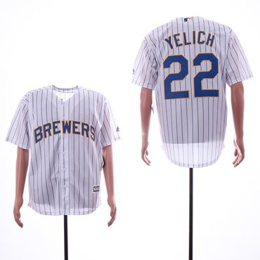Men's Milwaukee Brewers #22 Christian Yelich White Cool Base Jersey